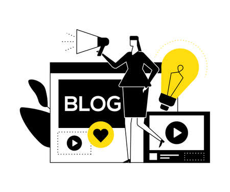 Female blogger - flat design style vector illustration. High quality black, white and yellow composition with a creative woman streaming, with megaphone, lightbulb, web page, like, video on the screen