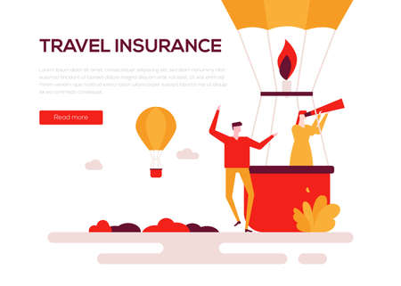 Travel insurance - colorful flat design style web banner on white background with copy space for text. A composition with a man and woman going on vacation, flying on a hot air balloon. Safety concept