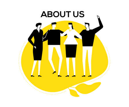 About us - flat design style vector illustration. Black, yellow and white unusual composition with happy male, female colleagues, company staff standing together, hugging. Creative team concept