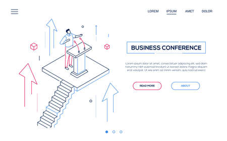 Business conference - line design style isometric web banner on white background with copy space for text. A header with a man, manager, politician giving a speech at the lectern, public performance Ilustração