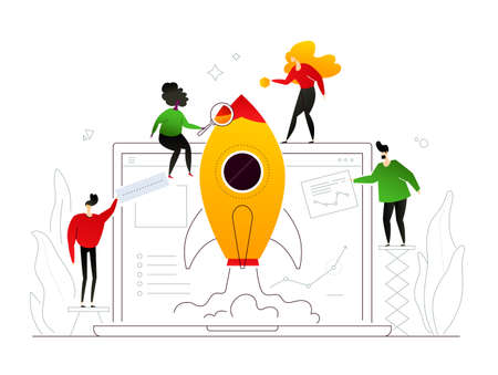 Startup - modern flat design style colorful illustration on white background. An image of business people, male, female characters launching the project, sending up a rocket. Company website on laptop Stock Vector - 124598668