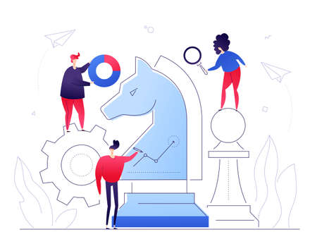 Business strategy - flat design style colorful illustration on white background. A composition with male, female managers, creative team standing at the chess knight with a magnifying glass, diagrams
