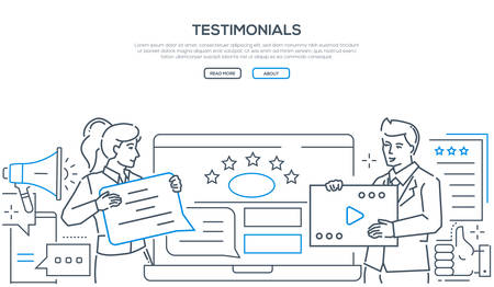 Company testimonials - line design style web banner on white background with copy space for text. A header with a man and woman writing comments, deciding the ratings on the website. Feedback concept