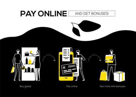Pay online and get bonuses - flat design style banner. Black, yellow and white unusual composition showing the processes of buying products, payment by mobile app and taking gifts. Shopping concept Ilustração