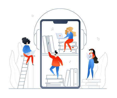 Audiobooks - modern colorful flat design style illustration on white background. A composition with cute man, women taking books from bookshelf on smartphone screen, listening to records in headsets
