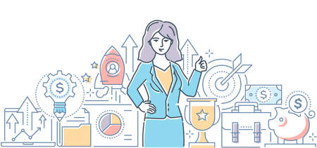 Successful business - modern line design style illustration on white background. High quality composition with a businesswoman, images of target, safe, rocket, money, laptop. Financial growth concept Ilustração