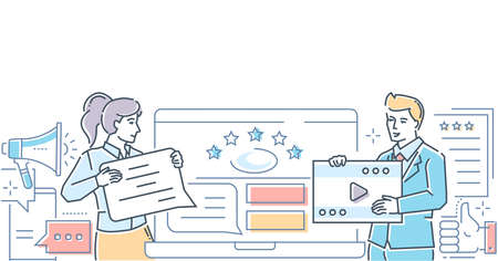 Company testimonials - colorful line design style illustration on white background. A composition with man and woman writing comments, deciding ratings on the website, video symbol. Feedback concept Ilustração