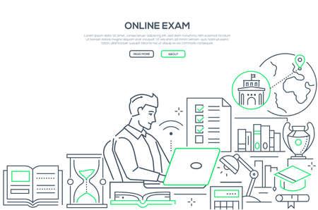 Online exam - line design style web banner
