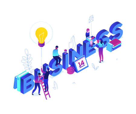 Business and finance - modern colorful isometric vector illustration on white background. Creative team, male, female colleagues working with laptops, drinking coffee, calendar, coins, lightbulb, book