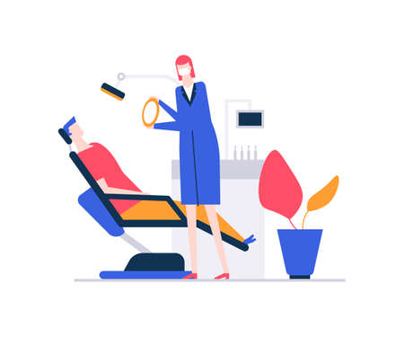 At the dentist - colorful flat design style illustration on white background. A composition with a man in the chair, having a toothache, a doctor examining a patient. Medicine, healthcare concept