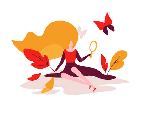 Beauty concept - colorful flat design style illustration on white background. Unusual composition with a pretty woman looking in the mirror, butterflies, leaves. Wellness concept