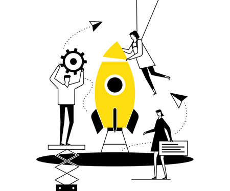Startup - flat design style conceptual vector illustration. Black, yellow and white composition with male, female colleagues, business team launching the project, images of gear, paper planes, comment Illustration