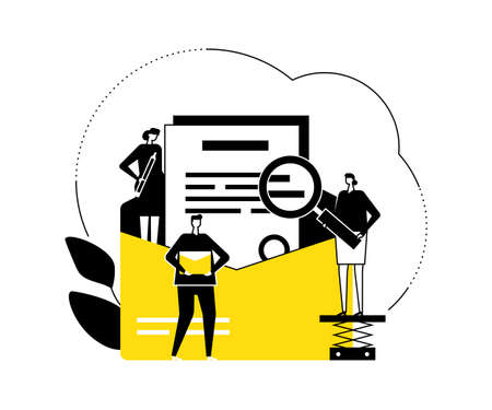 Email marketing - flat design style vector illustration. Black, yellow and white composition with male, female colleagues, business team standing around letter in envelope with magnifier, pencil