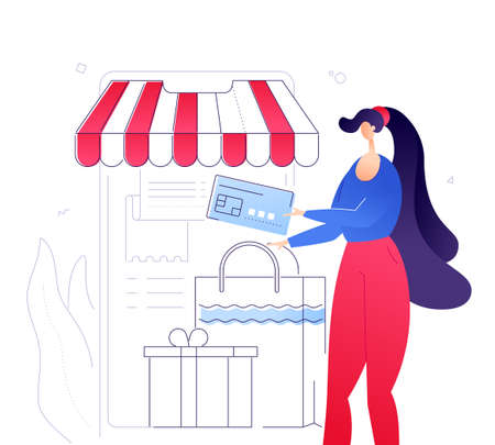 Online payment - modern colorful flat design style illustration on white background. Quality composition with a woman doing shopping using mobile app, paying by card, big smartphone with a storefront
