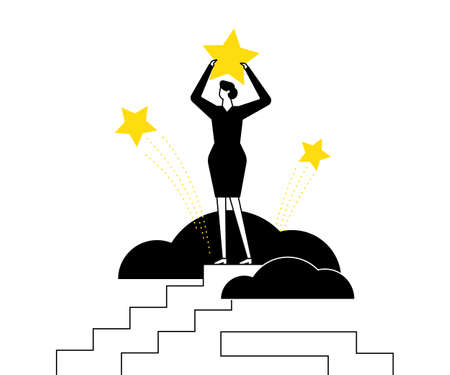 Business leadership - flat design style vector illustration. Black, white and yellow composition with female character, businesswoman standing on top of the staircase, holding star. Victory concept