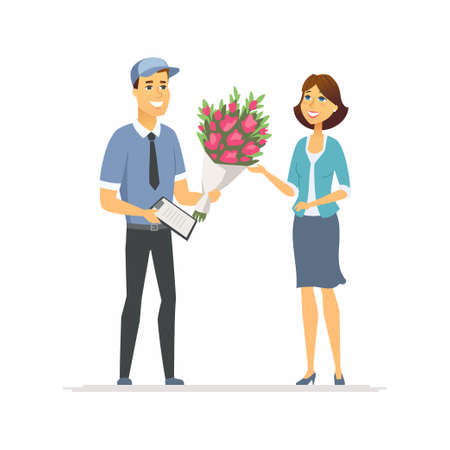 Flower delivery - modern vector cartoon people characters illustration on white background. High quality colorful composition with a young smiling woman taking a bouquet from a boy, signing papers Ilustração