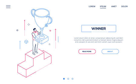 Winner - line design style isometric web banner on white background with copy space for text. Header with a businessman standing on a podium, getting the prize, cup. Victory, competition concept