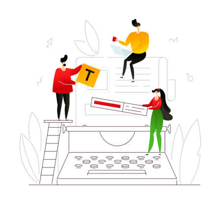 Copywriting - modern flat design style colorful illustration with linear elements on white background. Cute male and female specialists editing text on the typewriter. Content management concept Illustration