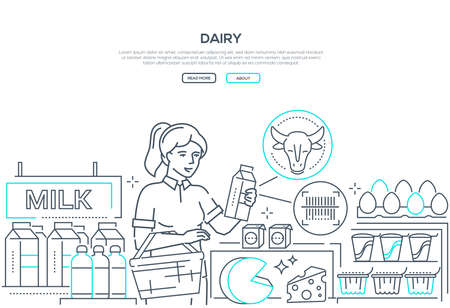 Dairy products - line design style web banner on white background with copy space for text. Header with a girl choosing milk in the store, checking label information. Organic food, farming concept