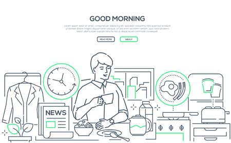 Good morning - line design style web banner Stock Illustratie