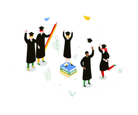 Graduation concept - modern colorful isometric vector illustration on white background. A composition with happy international students in academic caps and mantles, celebrating, holding diplomas Ilustração