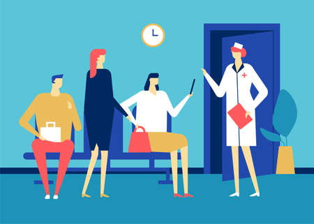 Visiting a doctor - colorful flat design style illustration on blue background. High quality composition with patients waiting in line at the hospital, clinic, nurse. Medicine, healthcare concept