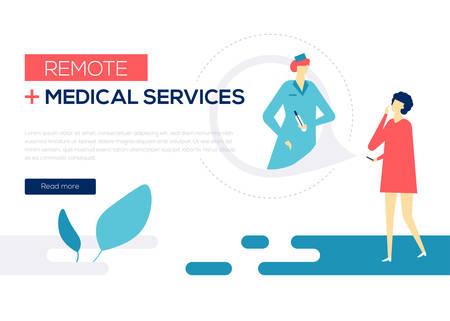 Servicios médicos remotos: banner de web de estilo de diseño plano colorido sobre fondo blanco con espacio de copia de texto. Una composición con una mujer que consulta con un médico en línea, utilizando una aplicación móvil en un teléfono inteligente.