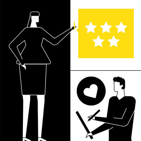 Company testimonials - flat design style vector illustration. High quality black, yellow and white composition with man, woman writing comments, deciding the ratings, putting stars. Feedback concept Çizim