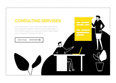 Consulting services - flat design style web banner with copy space for text. Black, yellow and white unusual composition with male, female specialists giving advice, providing support to the customers