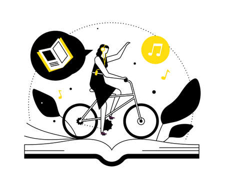 Listening to audiobooks - flat design style illustration Stock Illustratie