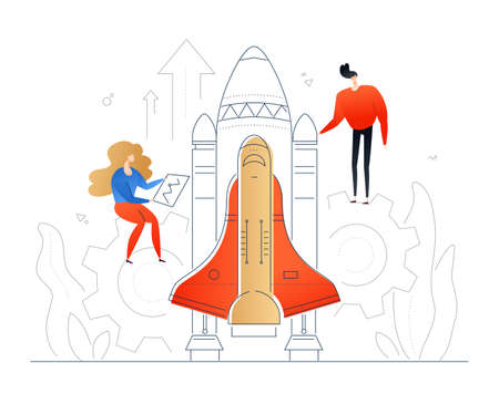 Launching a project - modern flat design style colorful illustration on white background. Quality composition with colleagues, man and woman sending up a rocket. Startup, business success concept Ilustração