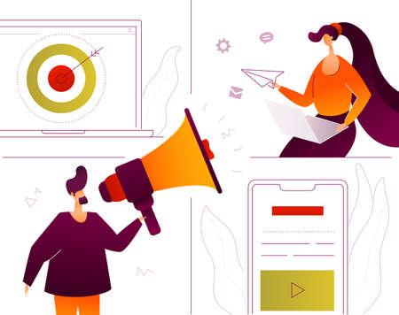 Digital marketing - modern flat design style colorful illustration Illustration