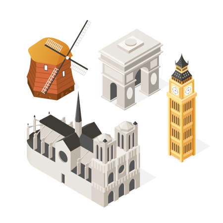 European landmarks - colorful isometric set of objects isolated on white background. A collection of famous buildings, architecture. Holland windmill, Notre-Dame de Paris, Triumphal arch, Big Ben