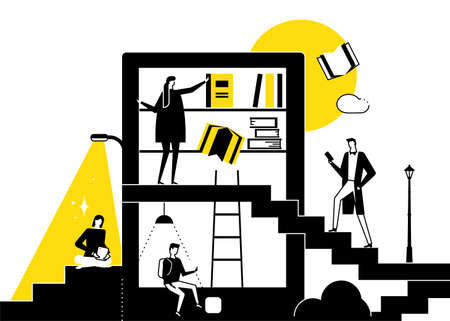 Library - modern flat design style conceptual illustration. Black and white unusual composition with man, woman reading books using devices, taking literature from shelves. Education, hobby theme Ilustração
