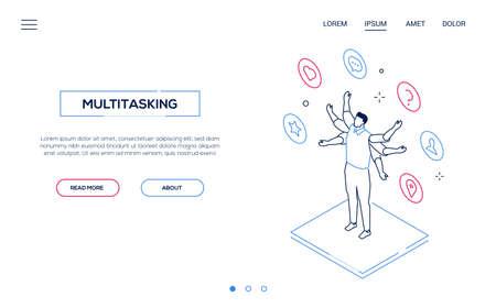 Multitasking concept - line design style isometric web banner