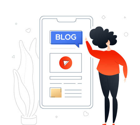 Blogging online - modern colorful flat design style illustration on white background. Quality composition with a cute character, woman standing with a smartphone, mobile app with video on the screen