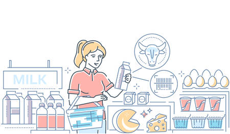 Dairy products - colorful line design style illustration