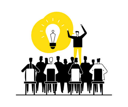 Finding a solution - flat design style vector illustration. Black, yellow, white composition with business people on a meeting brainstorming, one man having a bright idea, giving inspiring speech