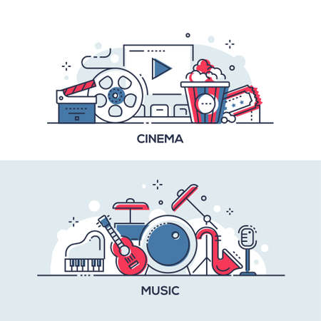 Cinema and music - modern line design style illustrations. A collection of two compositions with musical instruments, drums, guitar and film making objects, clapperboard, popcorn, movie screen, ticket