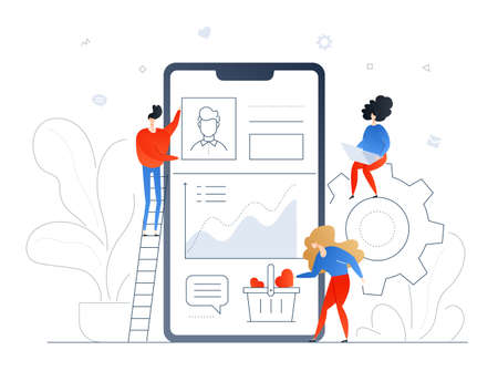 Social media marketing - modern flat design style colorful illustration on white background. A composition with cute smm specialists at the smartphone with a profile on the screen, collecting likes