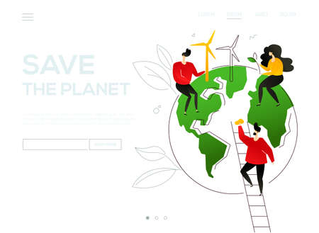 Save the planet - colorful flat design style web banner with copy space for text. Website header with male, female characters placing wind power generators, plants on a globe, mopping. Ecology concept