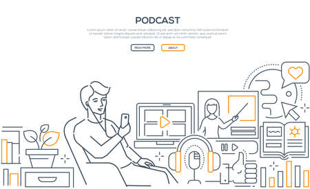 Podcast - modern line design style web banner on white background with copy space for text. Quality header with a boy sitting in a chair, listening to a program in his smartphone, using mobile app