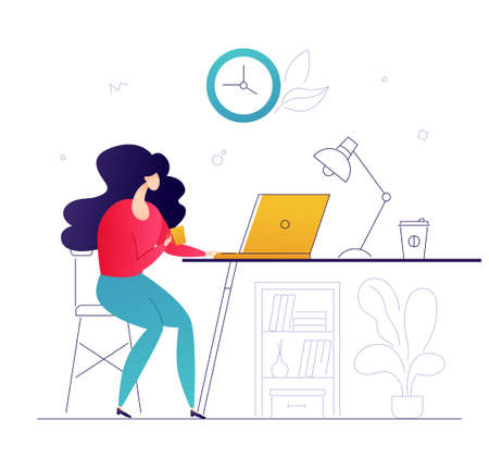 Freelance work - flat design style colorful illustration on white background with linear elements. A composition with a businesswoman, female worker sitting at the laptop at home, drinking coffee Illustration