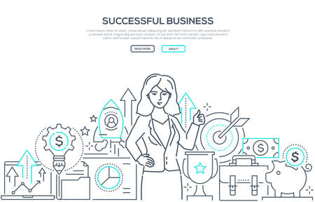 Successful business - line design style web banner on white background with copy space for text. A composition with a businesswoman, images of target, safe, rocket, money, laptop. Financial growth