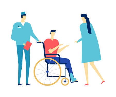Visiting a doctor - colorful flat design style illustration on white background. A composition with a young man, patient with a broken leg in a wheelchair, a doctor. Medicine, healthcare concept Ilustração