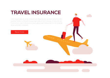 Travel insurance - colorful flat design style web banner on white background with copy space for text. High quality composition with a man going on vacation by plane. Safe tourism, journey concept