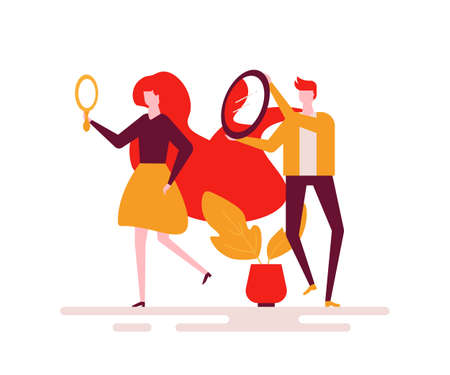 Beauty concept - colorful flat design style illustration on white background. Unusual composition with a woman looking in the mirror, man helping her to see the hairstyle