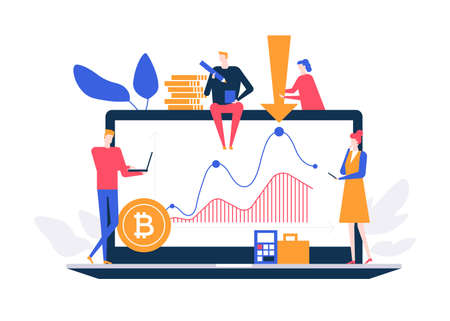Cryptocurrency concept - flat design style colorful illustration on white background. A composition with male, female colleagues, business team at laptop screen, bitcoins, diagrams. Financial concept