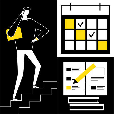 Due date - flat design style vector illustration. Black, yellow and white composition with businessman going up the stairs, images of calendar with picked days, notebook with pencil. Time management