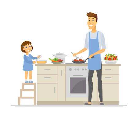 Vater und Tochter kochen - Cartoon-Leute-Charakter-Illustration auf weißem Hintergrund. Junge Eltern braten Koteletts und Kinder mit einem Schneebesen und machen das Abendessen zusammen in der Küche. Glückliches Familienkonzept